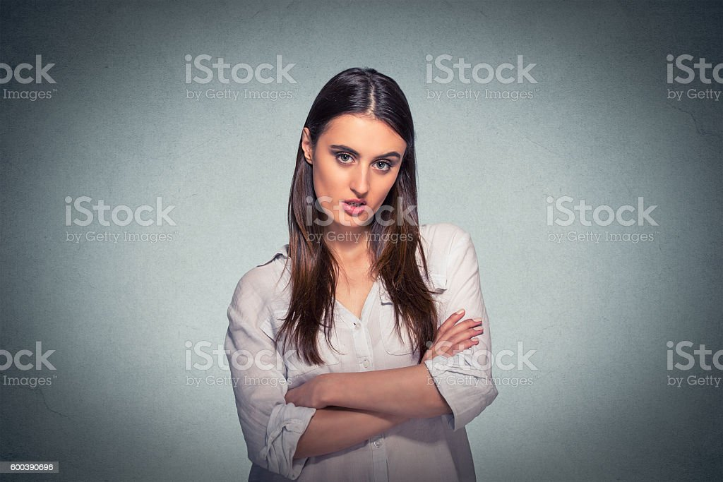 angry grumpy pessimistic woman with bad attitude stock photo