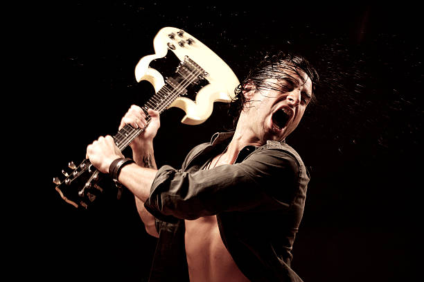 angry guitarist - broken guitar stock photos and pictures