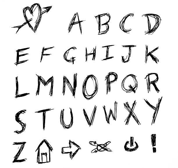 wütende hand schreiben alphabet scrached - scribble stock-fotos und bilder