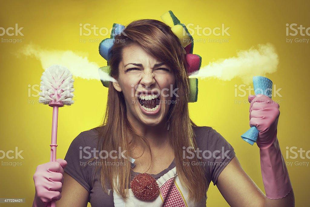 Angry housewife stock photo