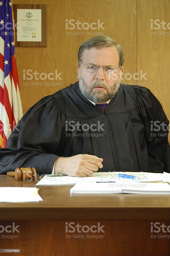 Angry Judge Looks at You royalty-free stock photo