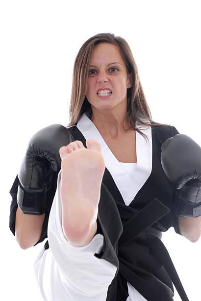 Angry kickboxer stock photo