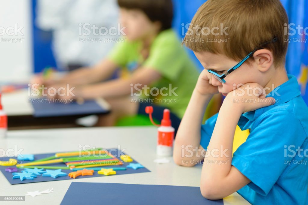 Angry Kid at Kindergarten royalty-free stock photo