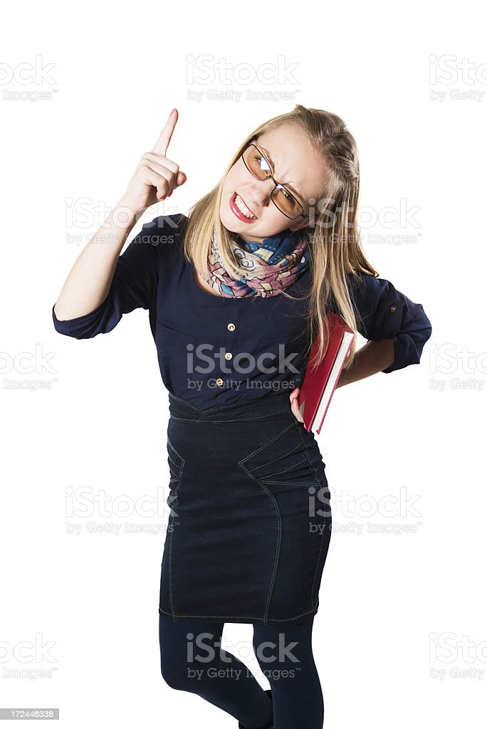 Angry Little Girl Threatening and Pointing at You royalty-free stock photo