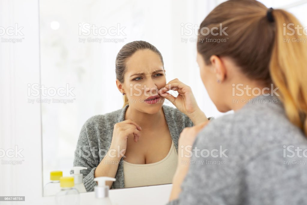 Angry mad woman reducing hair royalty-free stock photo
