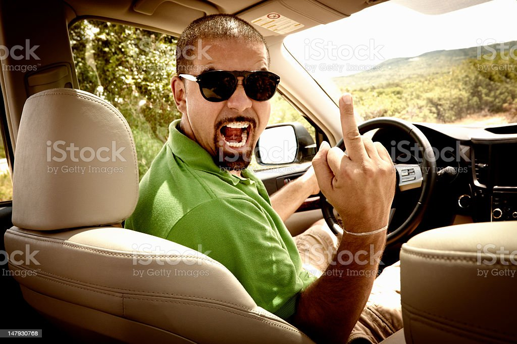Angry Man in the Car stock photo
