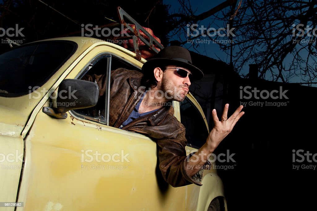 Angry man in the car royalty-free stock photo
