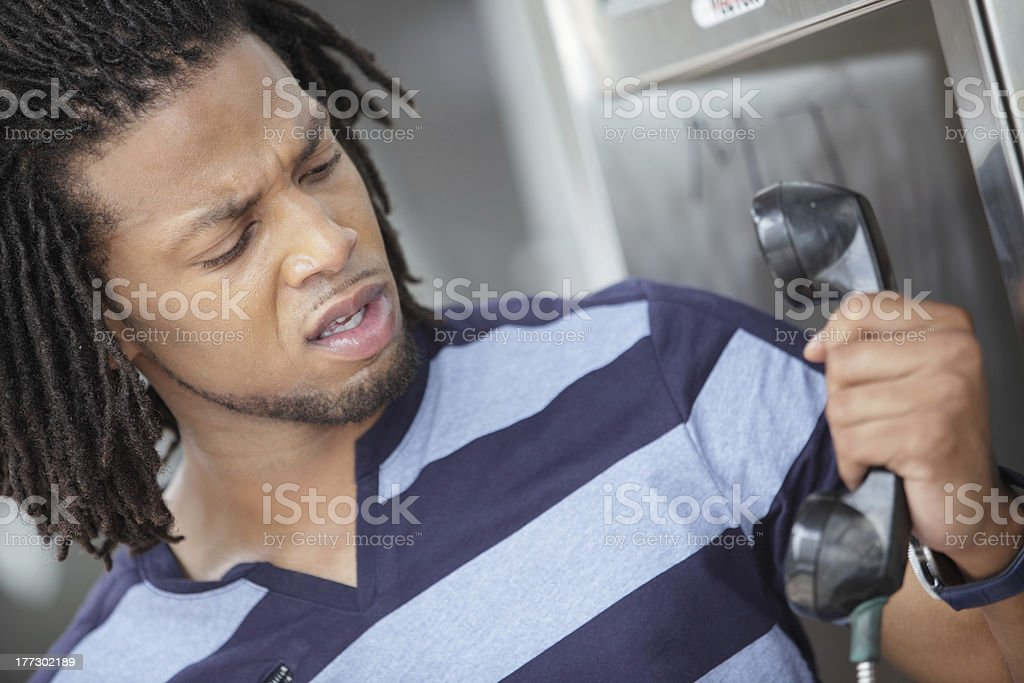 Angry man on the phone royalty-free stock photo