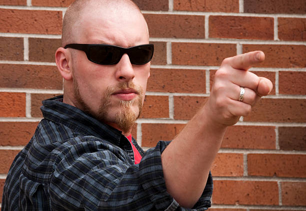 Angry Man Pointing stock photo