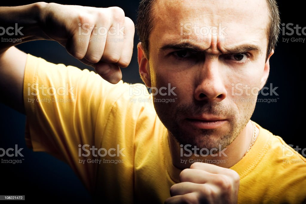 Angry Man Showing His Fists royalty-free stock photo