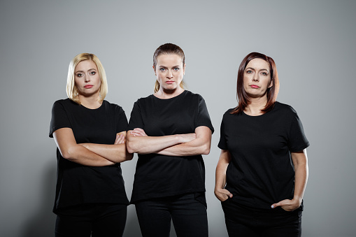 Angry Mature Women Wearing Black Clothing Stock Photo - Download Image Now