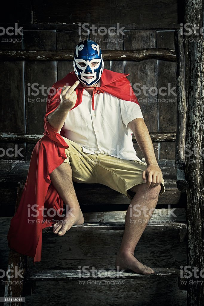angry mexican luchador stock photo