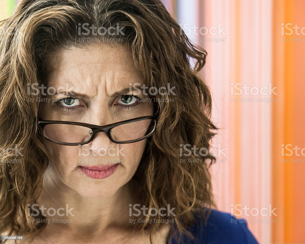 Angry Middle Aged Woman stock photo