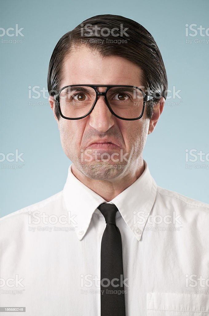 Angry Nerdy Office Worker royalty-free stock photo