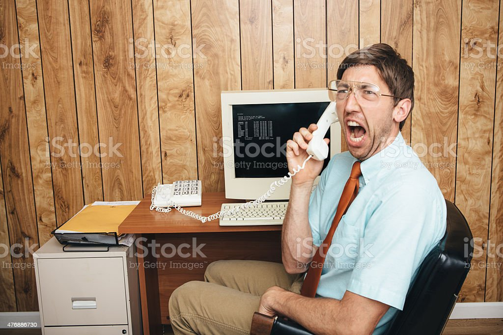 Angry Office Worker of the Past stock photo