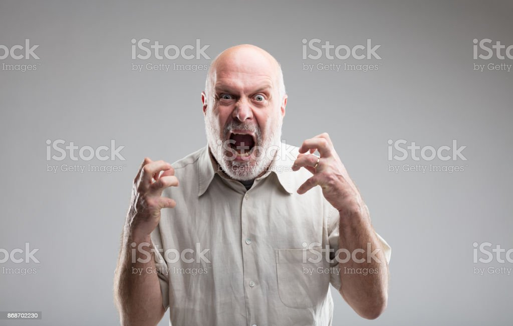angry old man getting crazy or a wolf stock photo