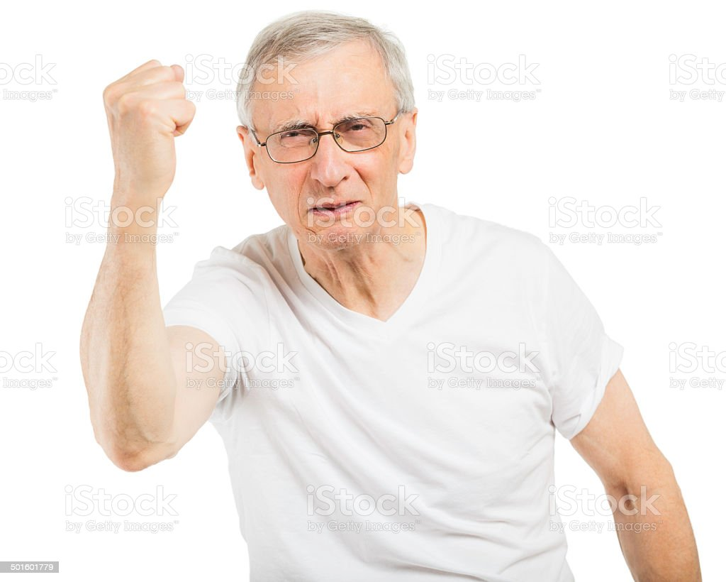 Angry Old Man stock photo