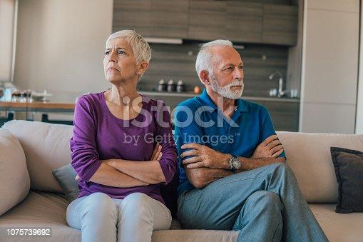 Elderly couple fighting