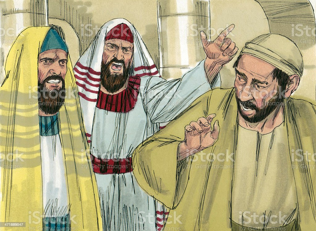 Angry Pharisees stock photo