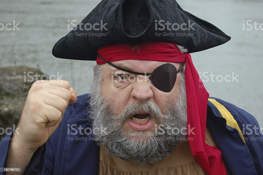 Angry Pirate Shakes His Fist stock photo