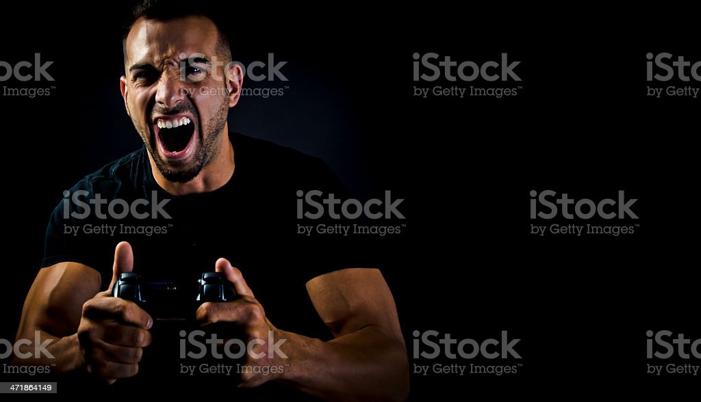 Angry Playing Video Games royalty-free stock photo