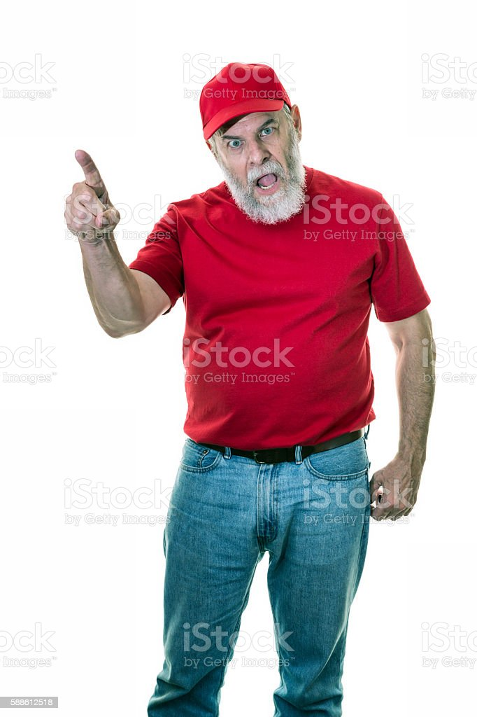Angry Pointing Old Man Redneck Wearing Red Hat and T-Shirt stock photo