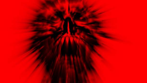 böse rote ghul vampir kopf schreien. - brüllender tod stock-fotos und bilder