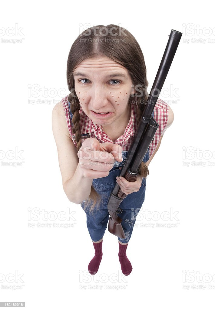 Angry Redneck Woman With Gun stock photo