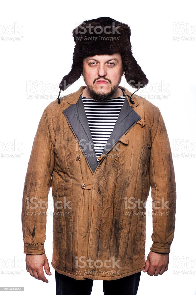 Angry russian look stock photo