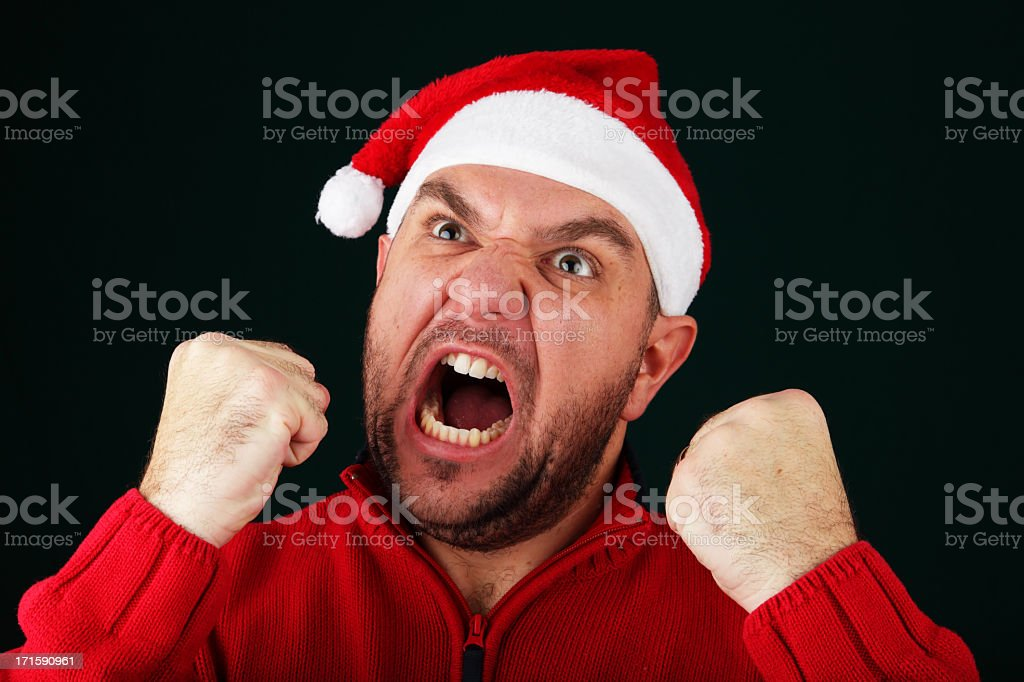 Angry Santa stock photo
