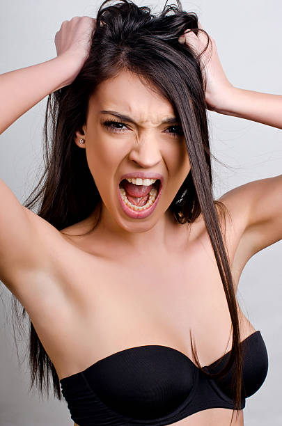 Angry, screaming, furious. stock photo