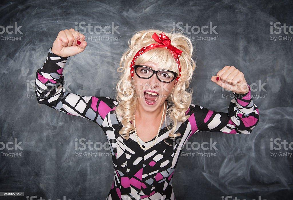 Angry screaming retro teacher stock photo