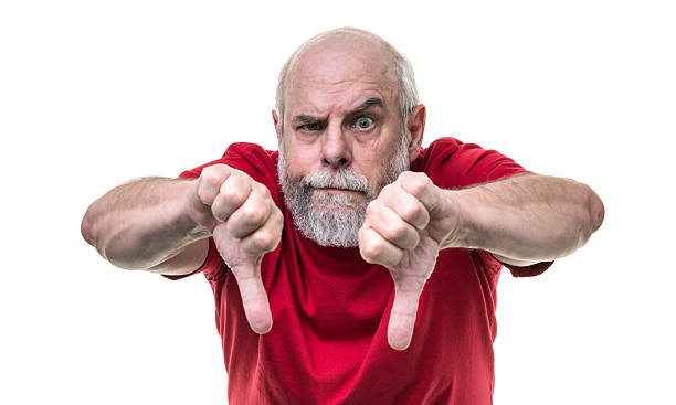 Angry Senior Man Redneck With Two Thumbs Down Hand Gestures – Foto