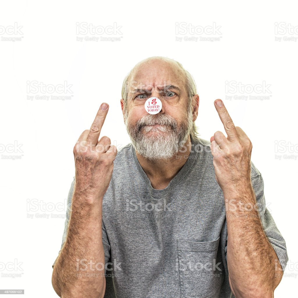 Angry Senior Man Voter Middle Finger Flipping The Bird stock photo