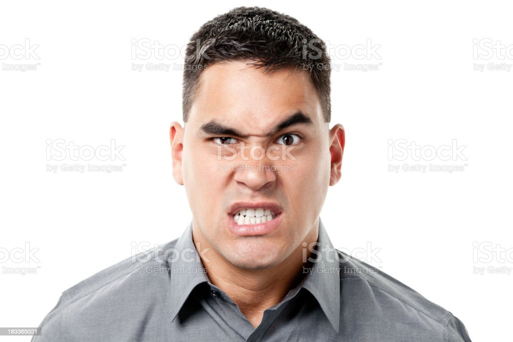 Angry Snarling Young Man Clenches Teeth royalty-free stock photo