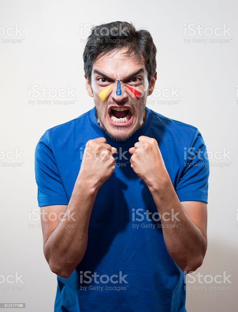 angry soccer fan stock photo
