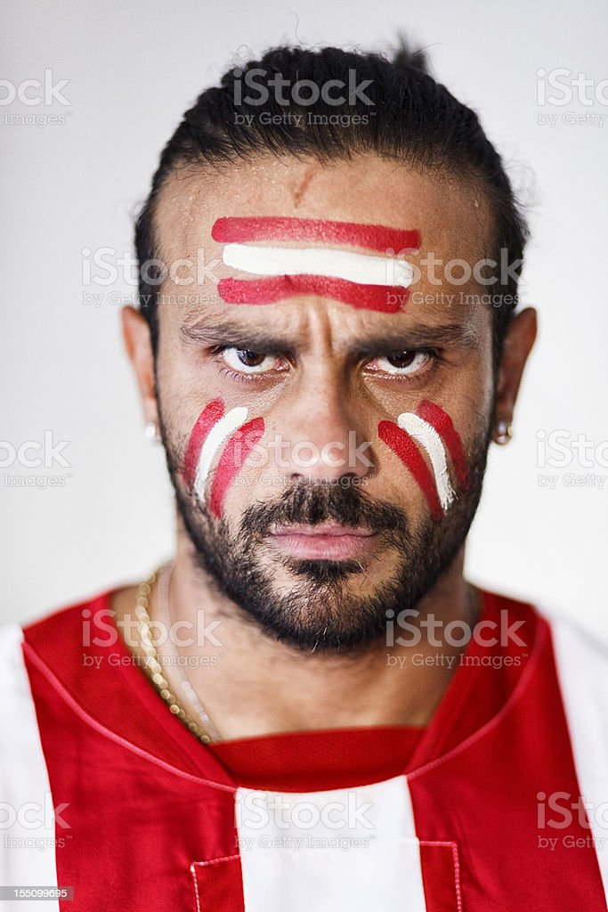 angry soccer fan portrait stock photo