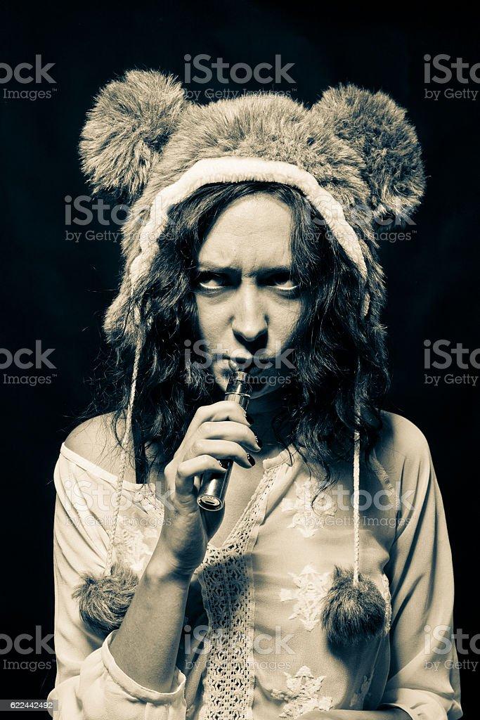 Angry vaporizer smoker stock photo