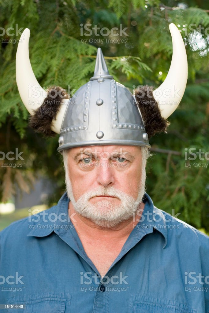 Angry Viking helmet horns. royalty-free stock photo
