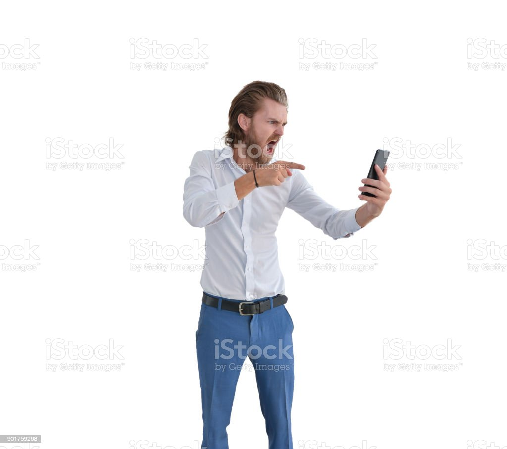 Angry western businessman blaming a customer on the phone isolated stock photo
