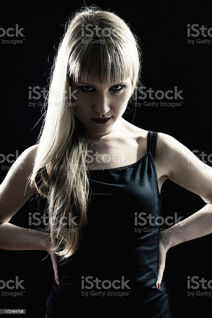 Angry woman in the dark royalty-free stock photo