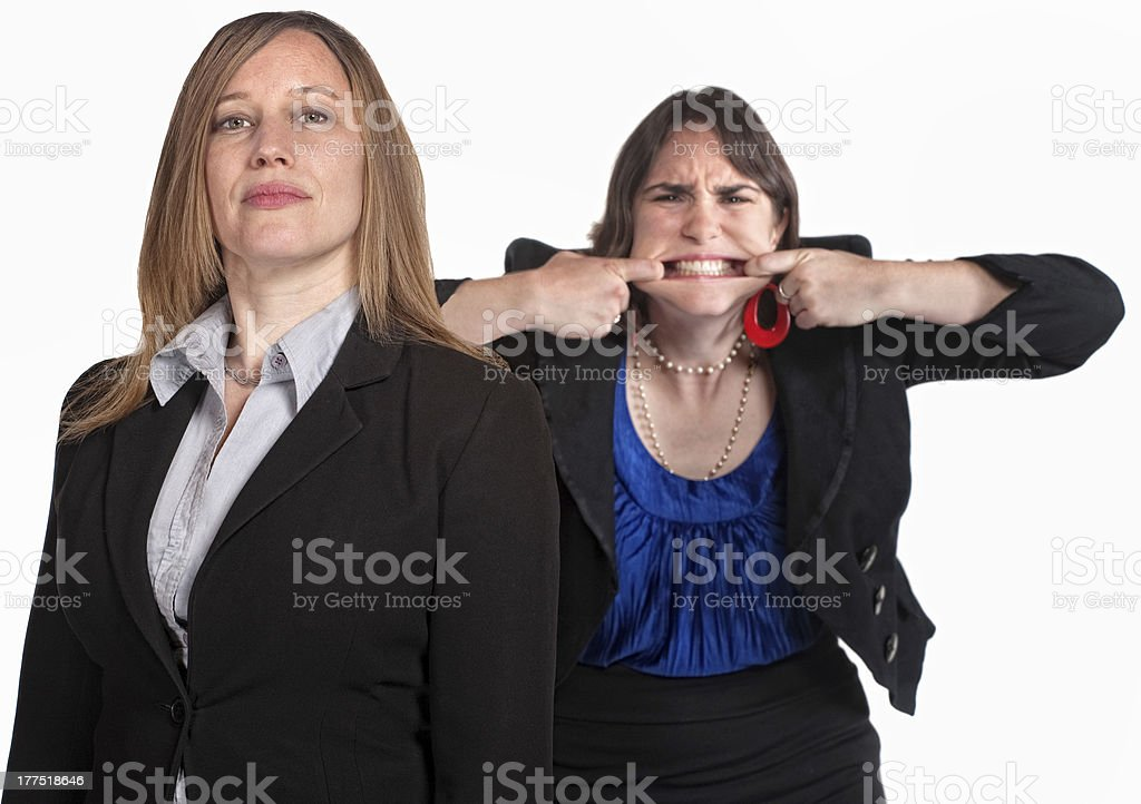 Angry Woman Makes a Face stock photo