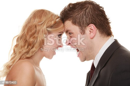 993706062 istock photo Angry woman man yelling at each other. Fury bride groom. 478970402
