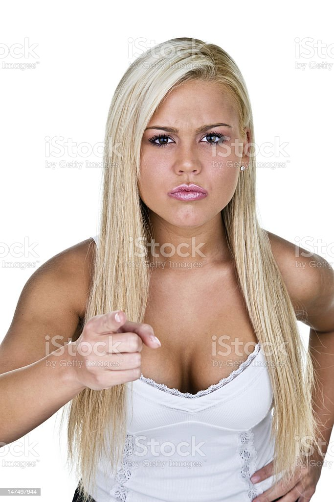 Angry woman pointing to camera royalty-free stock photo