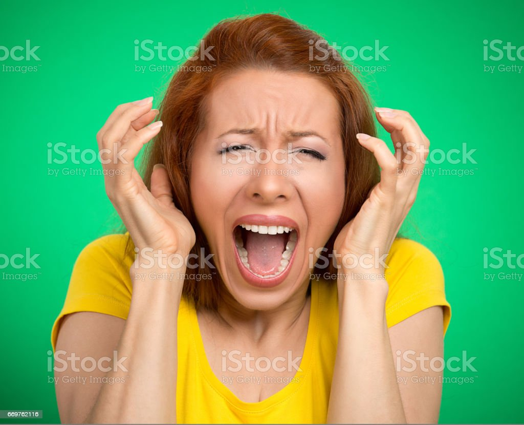 angry woman screaming wide open mouth hysterical stock photo
