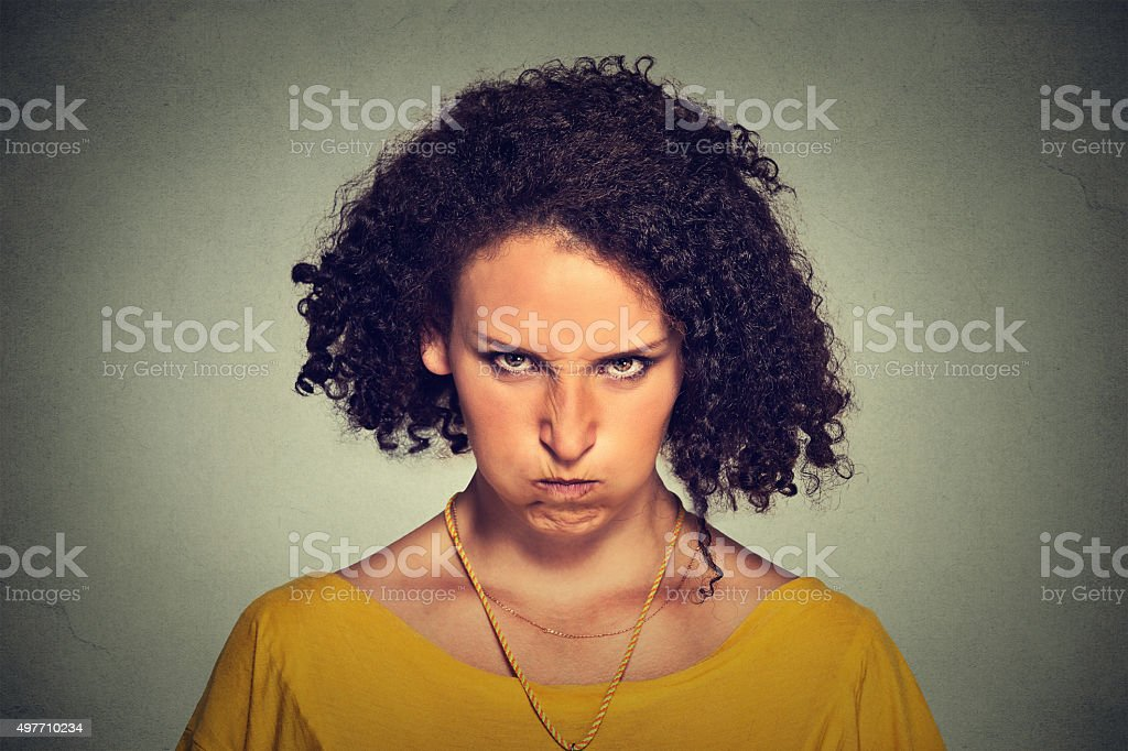angry woman upset, about to have nervous breakdown stock photo