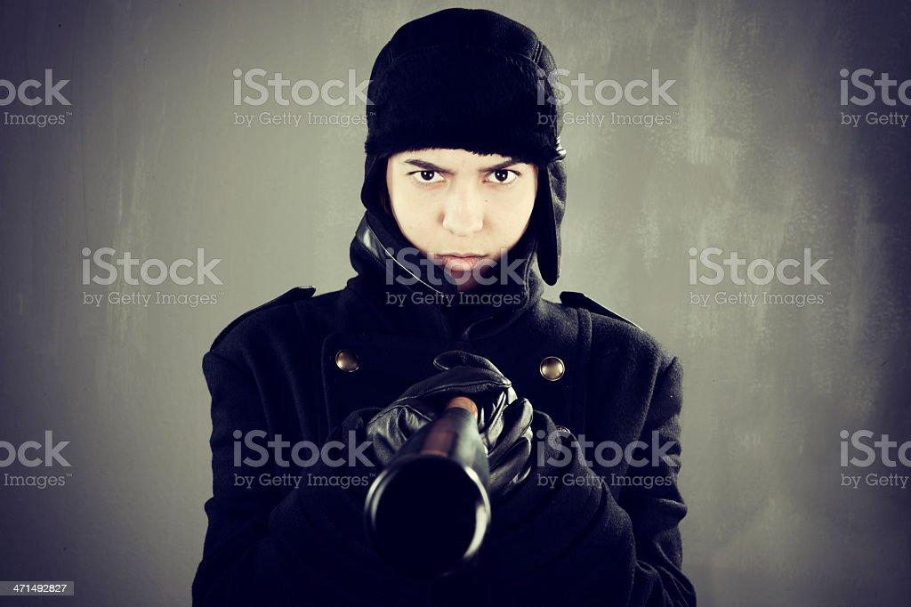 Angry woman with baseball bat royalty-free stock photo