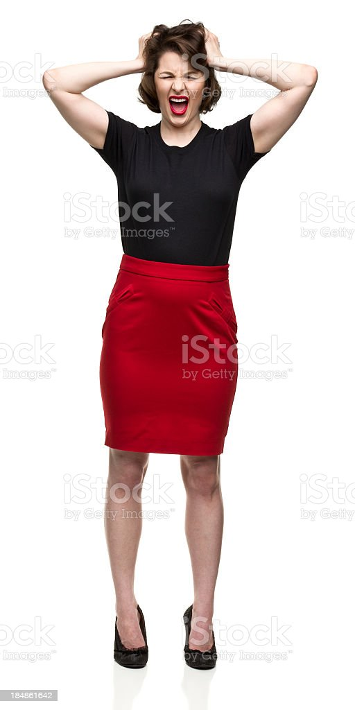 Angry Woman With Hands in Hair royalty-free stock photo