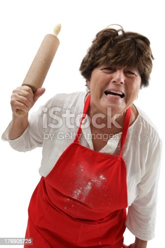 istock Angry woman with rolling pin 176905725