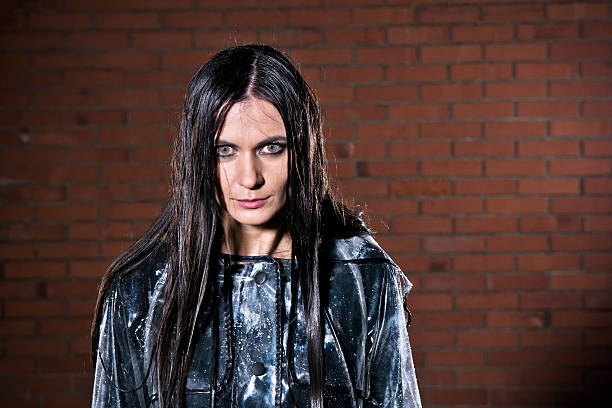 angry woman with wet hair after the rain - drenched stock pictures, royalty-free photos & images